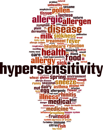 hypersensitivity: Hypersensitivity word cloud concept. Vector illustration
