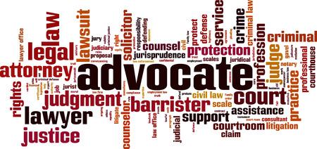 Advocate word cloud concept. Vector illustration