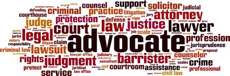 Advocate word cloud concept. Vector illustration Vektorové ilustrace