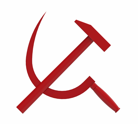 Hammer and sickle, Communist symbol, 3d render