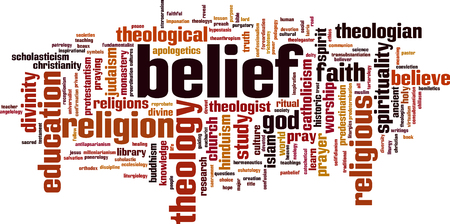 redemption: Belief word cloud concept. Vector illustration