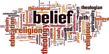 Concepto de la nube de la palabra de la creencia. Ilustración del vector Foto de archivo - 80024403