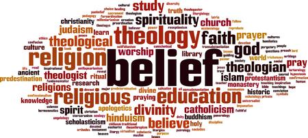 Belief word cloud concept. Vector illustration