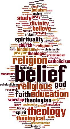 Belief word cloud concept. Vector illustration