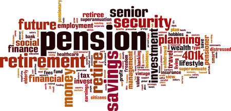 Pension word cloud concept. Vector illustration Vettoriali