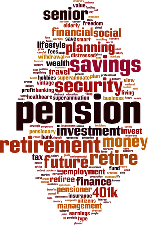 freetime: Pension word cloud concept. Vector illustration Illustration