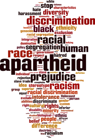 Apartheid word cloud concept. Vector illustration Illustration