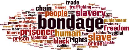 servitude: Bondage word cloud concept. Vector illustration