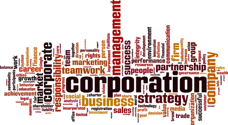 Corporation word cloud concept. Vector illustration