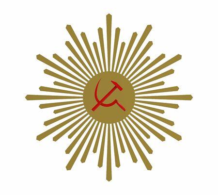 Hammer and sickle, Communist symbol, 3d render