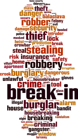 Break-in word cloud concept. Vector illustration