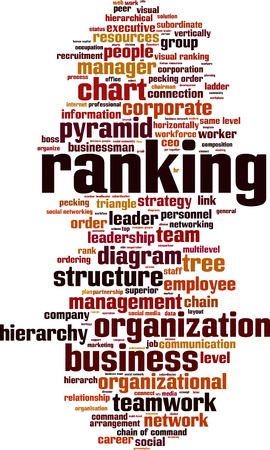 Ranking word cloud concept. Vector illustration Illustration
