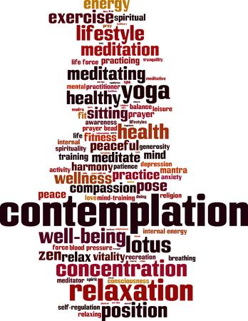 Contemplation word cloud concept Vector illustration Illustration