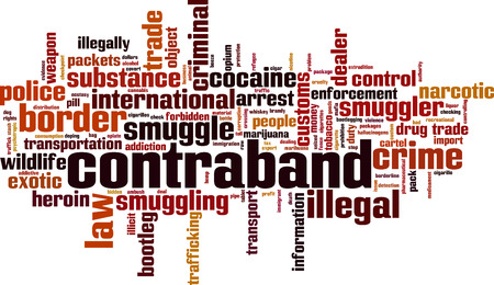 Contraband word cloud concept. Vector illustration