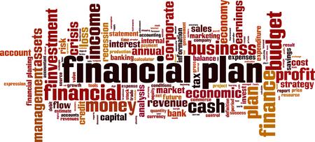 Financial plan word cloud concept Vector illustration