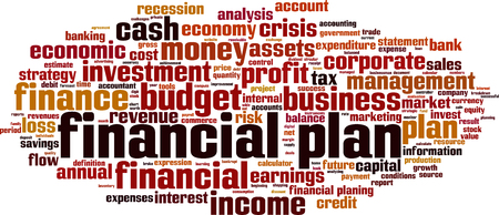 Financial plan word cloud Çizim