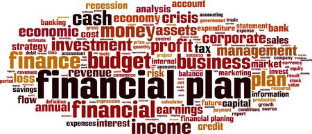 Financial plan word cloud Vettoriali