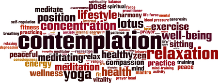 Contemplation word cloud concept. Vector illustration Illustration