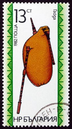 bagpipe: BULGARIA - CIRCA 1982: a stamp printed in Bulgaria shows Bagpipe, Wind Musical Instrument, circa 1982