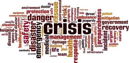 Crisis word cloud concept. Vector illustration