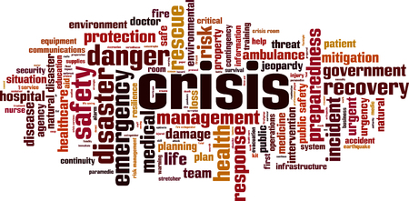 Crisis word cloud concept. Vector illustration