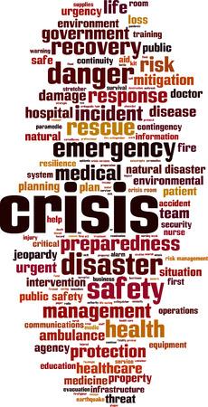 Concept de nuage de mots de crise. Illustration vectorielle