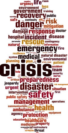 disaster preparedness: Crisis word cloud concept. Vector illustration
