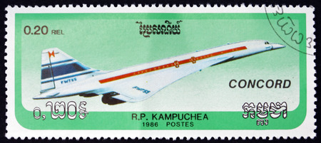 CAMBODIA - CIRCA 1986: a stamp printed in Cambodia shows Concorde, Supersonic Passenger Jet Airliner, circa 1986 Editorial