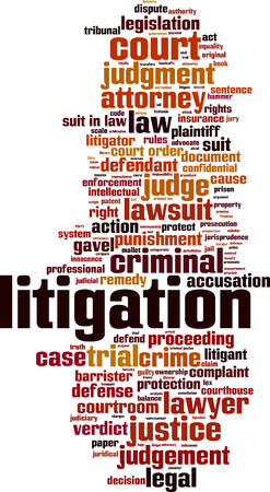 proceeding: Litigation word cloud concept. Vector illustration