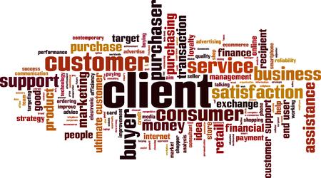 Client woord wolk concept. Vector illustratie Stock Illustratie