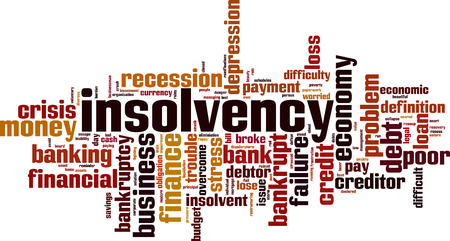 Insolvency word cloud concept. Vector illustration Vectores