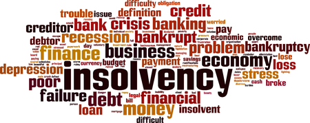 collapse: Insolvency word cloud concept. Vector illustration Illustration