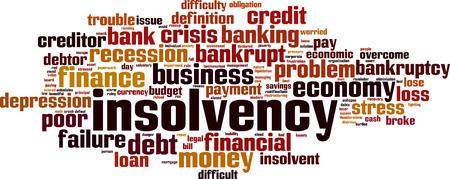 bankrupt: Insolvency word cloud concept. Vector illustration Illustration