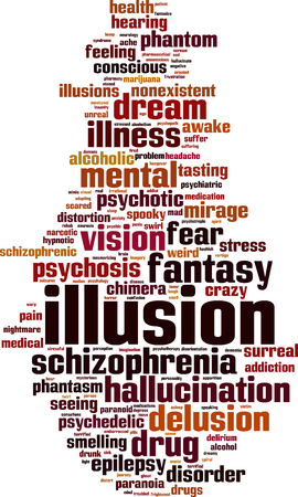 Illusion word cloud concept. Vector illustration