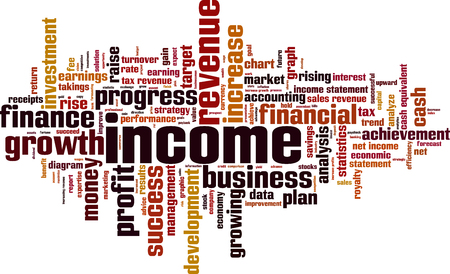 takings: Income word cloud concept. Vector illustration