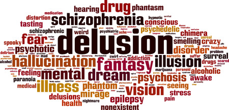 delusion: Delusion word cloud concept. Vector illustration