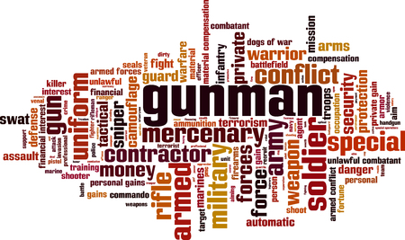 Gunman word cloud concept. Vector illustration