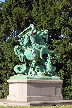 CROATIA ZAGREB, 30 JUNE 2017: St George Killing the Dragon, sculpture in Zagreb, Croatia
