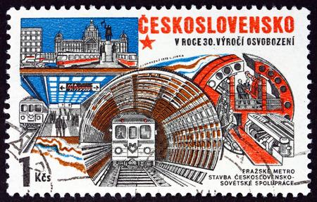 commemorate: CZECHOSLOVAKIA - CIRCA 1975: a stamp printed in Czechoslovakia shows Construction of Prague Subway, circa 1975 Editorial