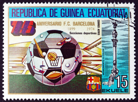 postmark: EQUATORIAL GUINEA - CIRCA 1974: a stamp printed in Equatorial Guinea shows Soccer Ball, Barcelona Soccer Team, 75th Anniversary, circa 1974