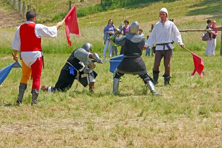 helena: CROATIA, SVETA HELENA, 20 MAY 2012:  The duel of two knights, International Knights Tournament, Sveta Helena, Croatia