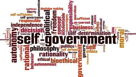 Self-government word cloud concept. Vector illustration Çizim
