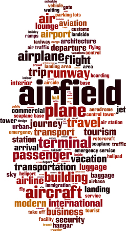 Airfield word cloud concept. Vector illustration