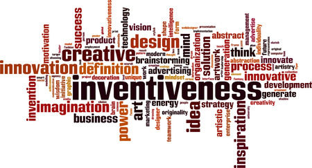 Inventiveness word cloud concept. Vector illustration Illustration