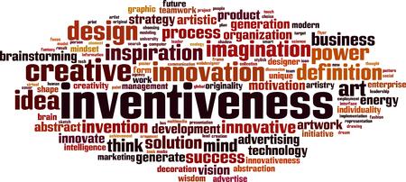 innovate: Inventiveness word cloud concept. Vector illustration Illustration