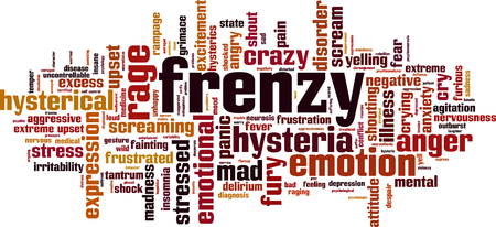 madness: Frenzy word cloud concept. Vector illustration