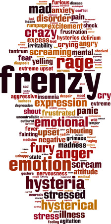 rampage: Frenzy word cloud concept. Vector illustration
