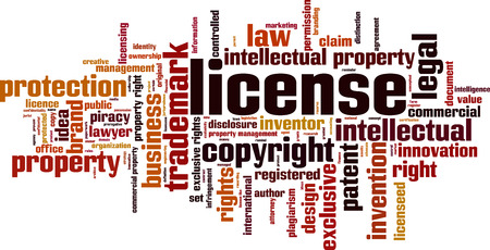 License word cloud concept. Vector illustration Çizim