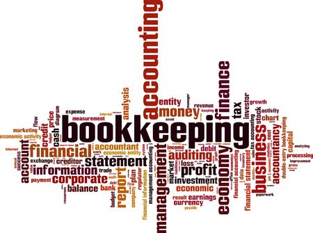 Bookkeeping word cloud concept. Vector illustration Vektorové ilustrace