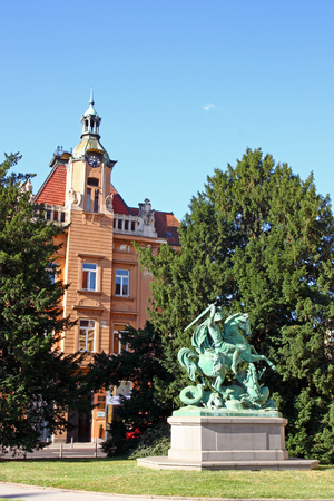 CROATIA ZAGREB, 30 JUNE 2017: St George Killing the Dragon, sculpture in Zagreb, Croatia